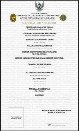 Sertipikat Tanah Oleh Kementerian ATR BPN